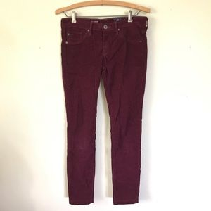 AG Adriano Goldschmied Maroon Corduroy Skinny Pant